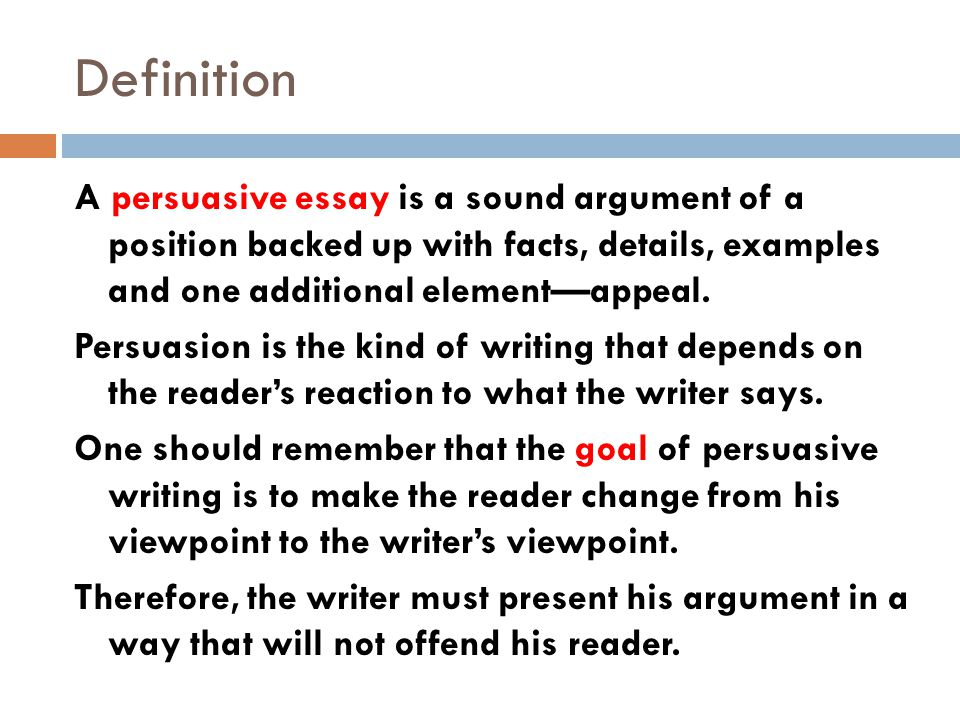 persuasive essay meaning Definition of persuasive - good at persuading someone to do or believe something through reasoning or the use of temptation.